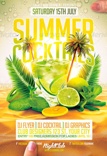 Summer Cocktails Flyer Template…