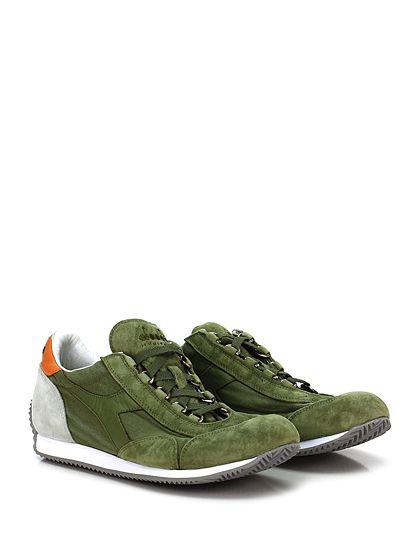DIADORA Heritage - Sneakers - Uomo - Sneaker in tessuto e camoscio effetto vintage con suola in gomma. Tacco 15. - OLIVA - € 155.00