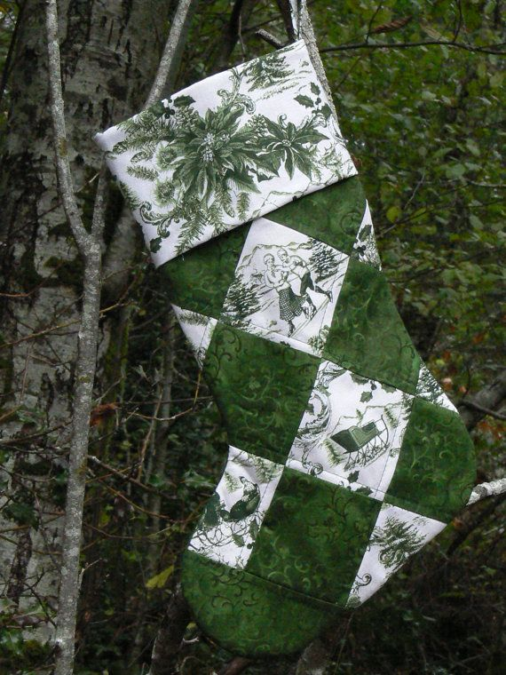 Green Victorian Quilted Christmas Stocking by quiltedoccasions, $26.00