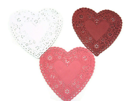 6 French lace Doilies Heart White Pink Red doily by CharleysCache, $3,75