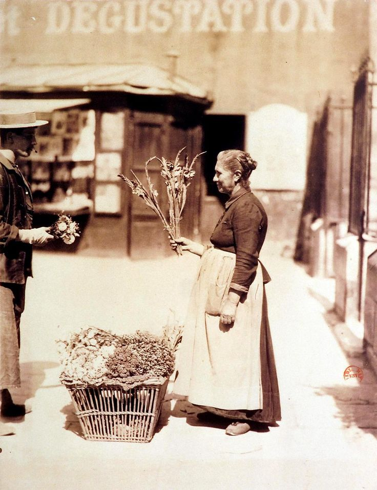 Eugène Atget, The flowers seller, Paris 1899…