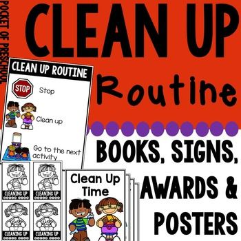 Set up a clean up routine using various supports to make clean up an easy transition for students in your classroom. Students can use the routine poster as a reference and teachers can use it as a visual support when redirecting students.
