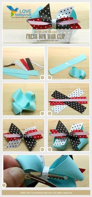 how to make fresh bow hair clip by Ada123