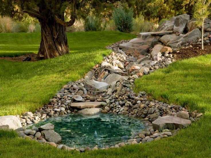 pond below hilltop(rock garden idea)