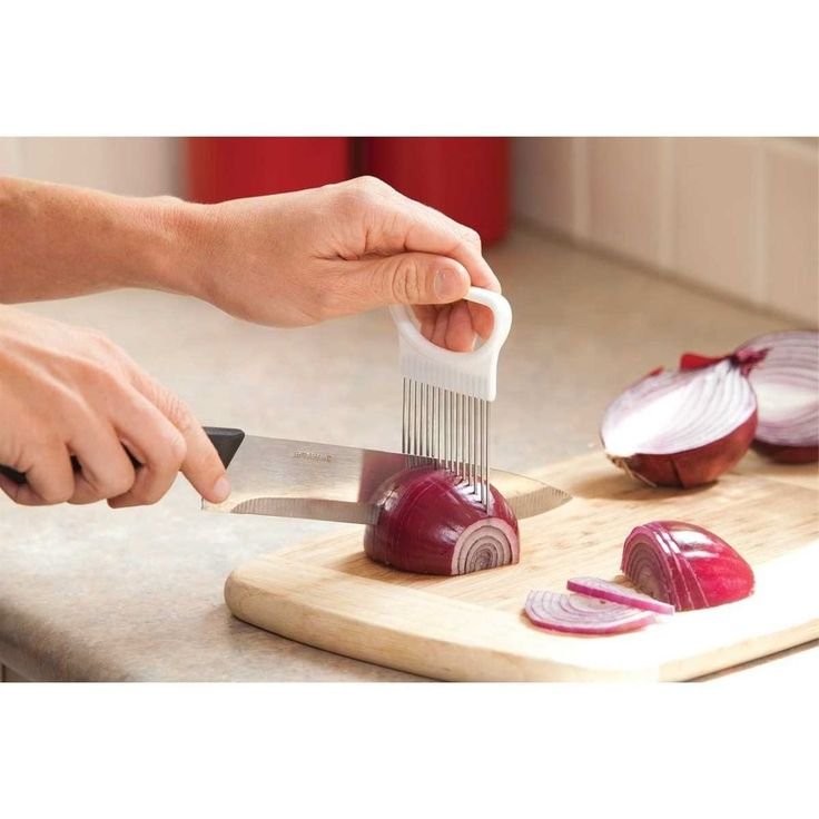 ONION TOMATO VEGETABLE SLICER CUTTING AID GUIDE HOLDER SLICING CUTTER GADGET #Unbranded