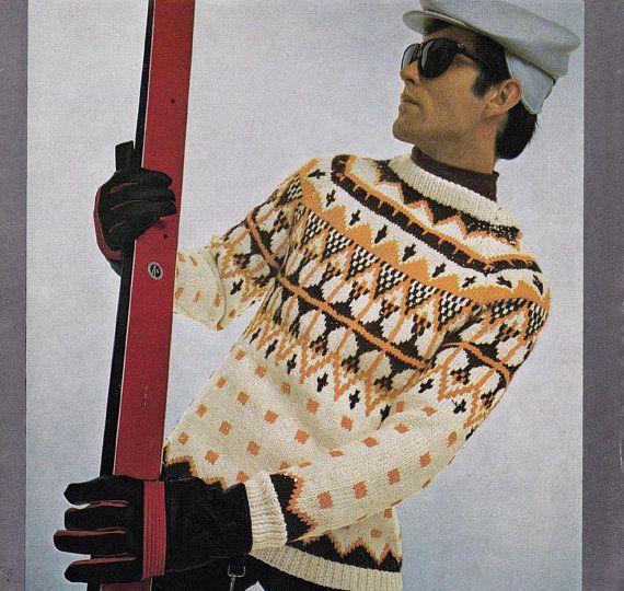 60s Mens Knitting patterns Ski Lodge by allthepreciousthings