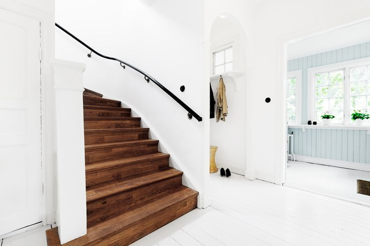 white floors, stairs left unpainted | Fantastic Frank