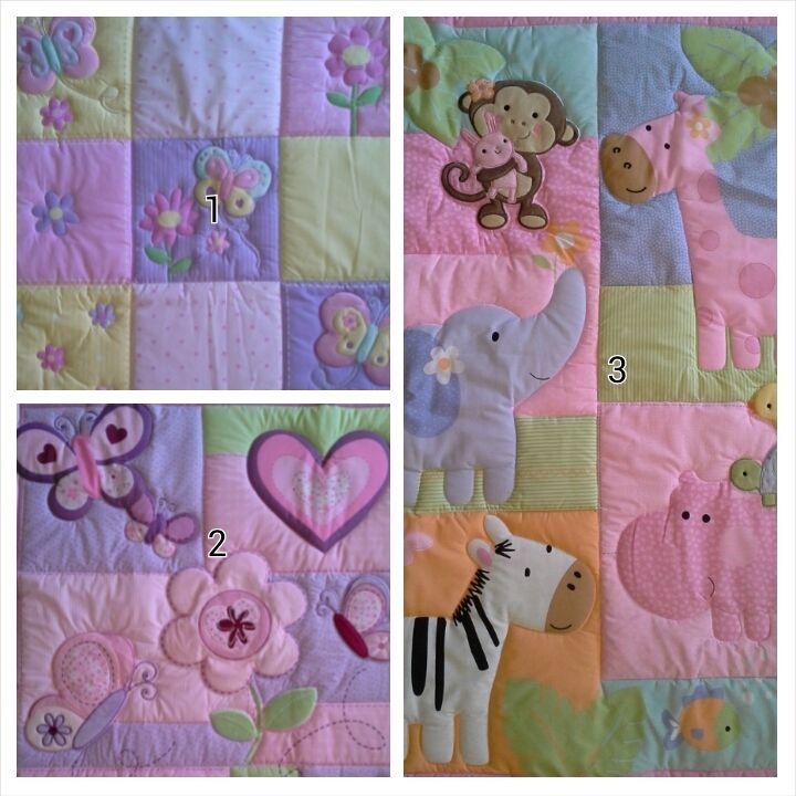 BEAUTIFUL BABY COT QUILT, JUNGLE, BUTTERFLY, FLOWER, HEART, PATCHWORK, NEW