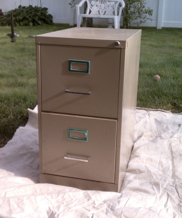 Paint old metal filing cabinet