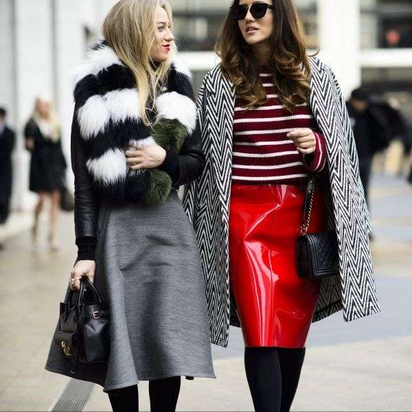 Winter Street Style From The Fall 2015 Shows | Stripes are a cool-girl go-to that instantly add interest to an outfit. They're also the perfect print choice when mixing and matching patterns.