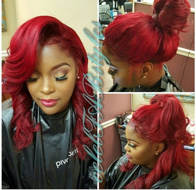 181 best colored weave hair styles images on pinterest colored weave red curls ponytail sidebangs pmusecretfo Gallery