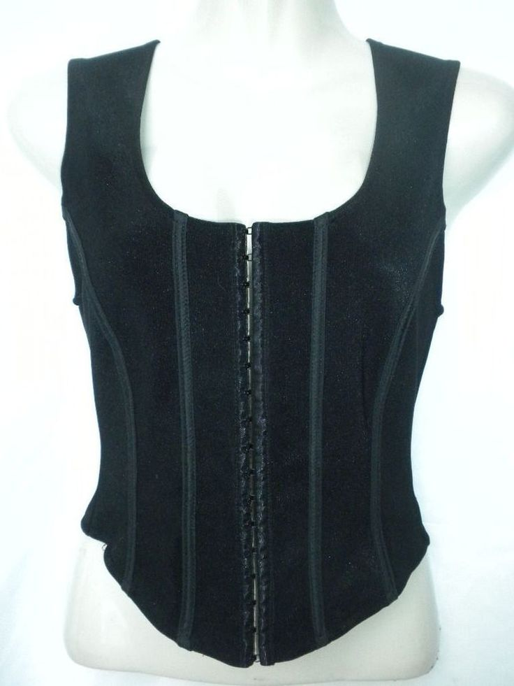 Tristan Iseut Womens Size Small Black Bustier Corset Top Hook & Eye Closure #TristanIseut #Bustier #Clubwear