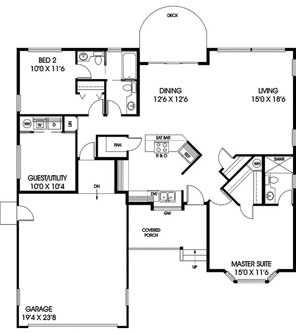 The Westshyre Ranch Home has 2 bedrooms, 2 full baths and 1 half bath. See amenities for Plan 085D-0378.
