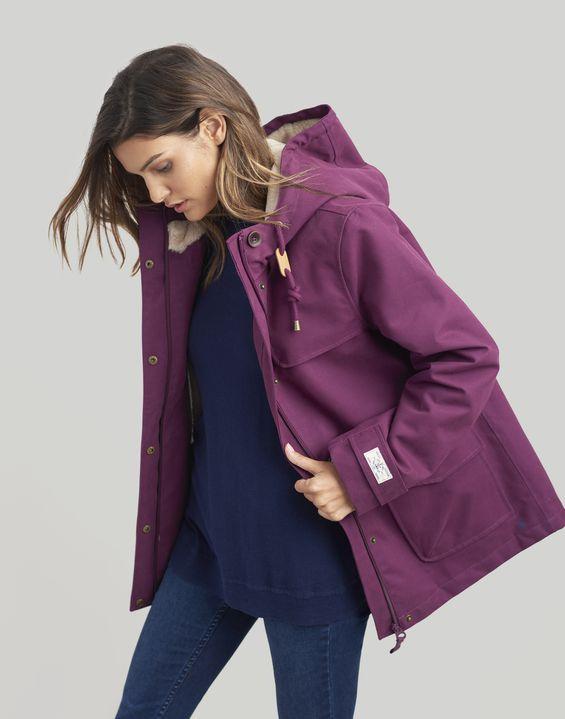 Coast Cosy Italian Plum Sherpa Fleece Lined Waterproof Jacket Joules Us In 2020 Waterproof Jacket Women Waterproof Jacket Purple Jacket Outfit