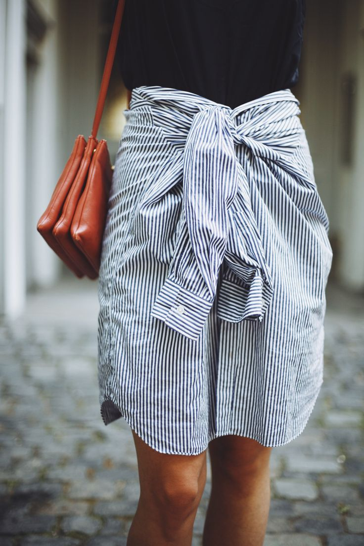 been doing this for years good multitasking item! Shirt skirt tie waist button up front