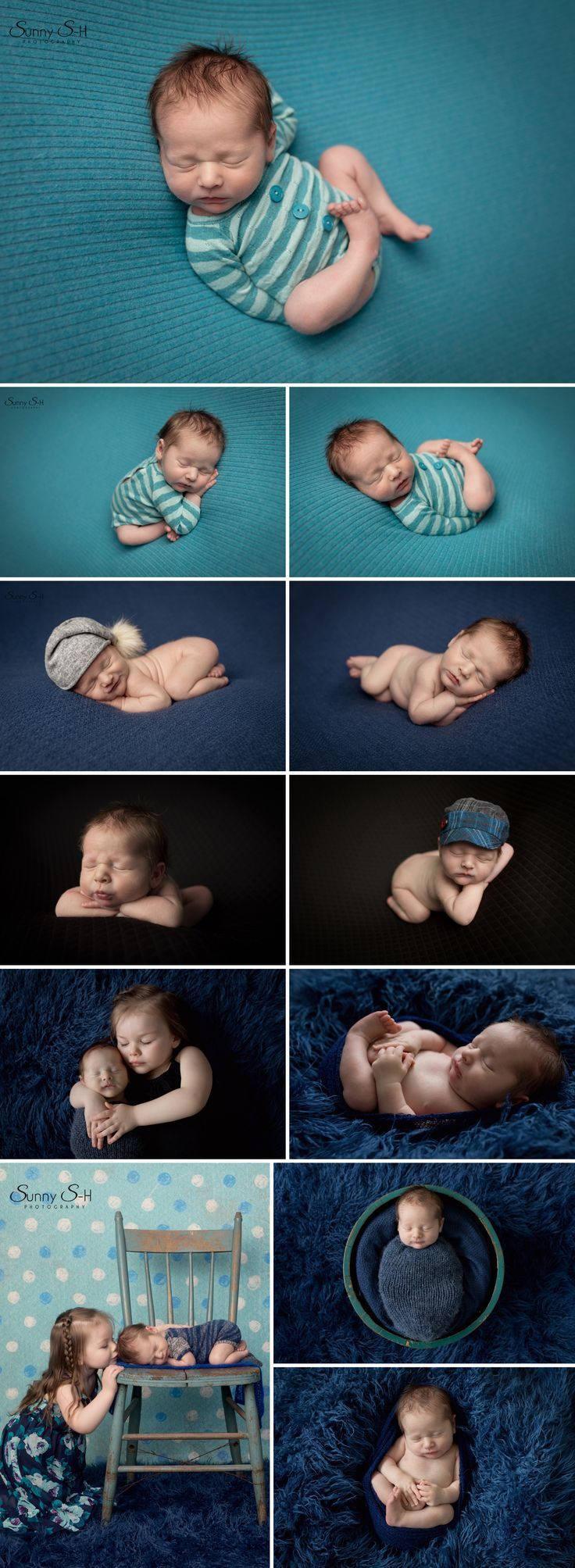 Love the bold blues and teals in this studio newborn photo shoot. Sunny S-H Photography WInnipeg