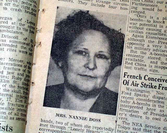 Nannie Doss responsible for the deaths of 11 people between the