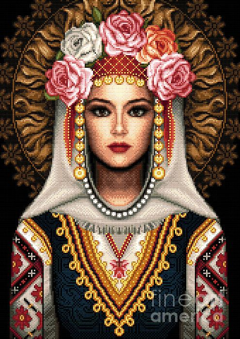 Girl In Bulgarian National Costume by Stoyanka Ivanova