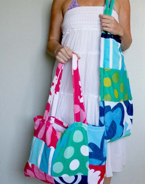 beach towel tote tutorial.  Perfect to recycle old towels and get new ones at the end of the season!