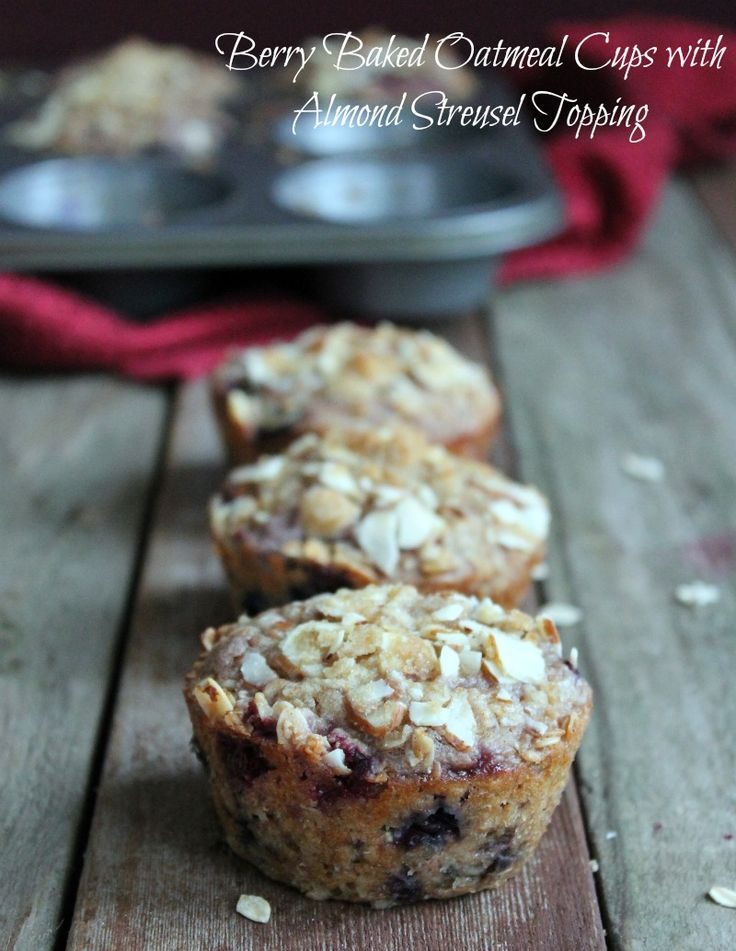 Freezer Friendly Make Ahead Berry Baked Oatmeal Cups with Almond Streusel Topping. 234 calories and 6 weight watchers points plus