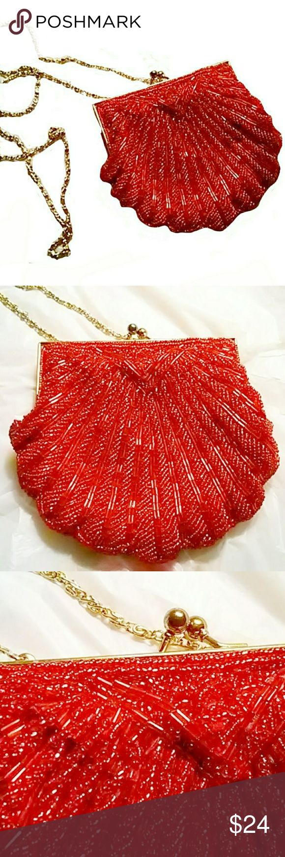 DAZZLING SPECIAL OCCASION HOT RED BAG This a a very cute evening/special occasion bag.  Gold tone accent and chain strap.  Strap can be completely hidden. Strap drop length approximately 22inches. Bag approximately 5.5 x 6 EUC ASK ALL QUESTIONS B4 YOU BUY! Bags Clutches & Wristlets