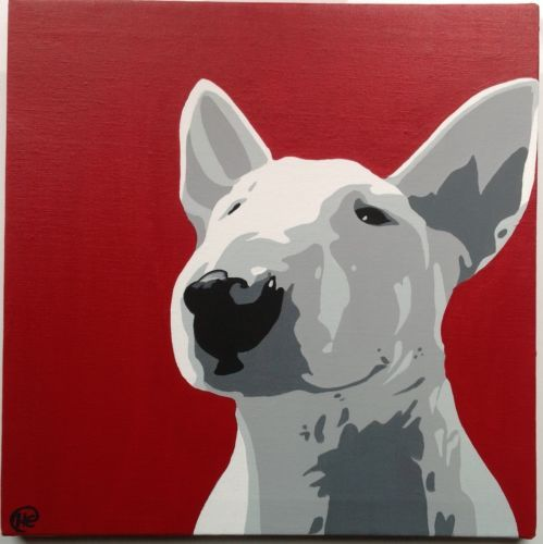 English Bull Terrier Canvas Acrylic Hand Painted Painting Art Dog Square | eBay