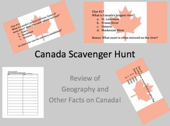 $0 This is a scavenger hunt to help students investigate the human geography of Canada.  Teacher directions are provided, offering a number of options...