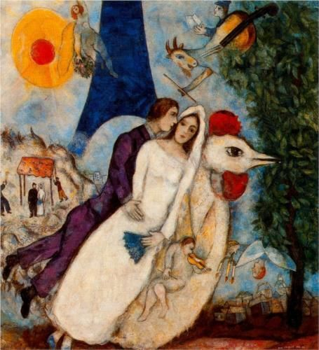 The betrothed and Eiffel Tower - Marc Chagall, 1913 (Musée national Message Biblique Marc Chagall, Nice, France), Wikipaintings