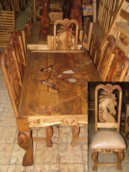 Horse design carved dining table western rustic for Western dining room tables