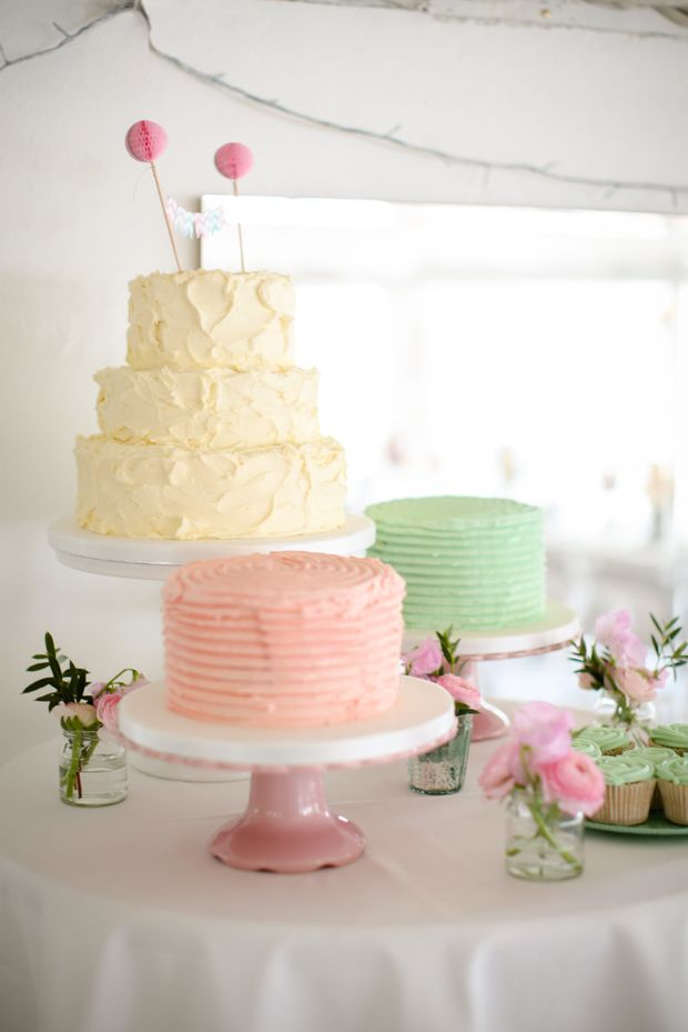 pretty pastel wedding cake table | www.onefabday.com