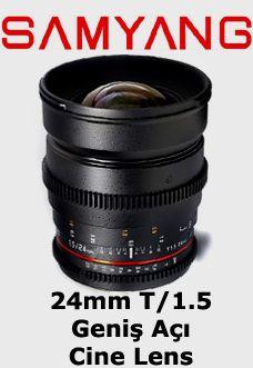 Samyang 24mm T1.5 Geniş Açı Sinema Serisi Objektif  Canon EF Mount Uyumlu Samyang Sinema Serisi Lens    Diyafram Aralığı: T/Stop 1.5 – 22  Fokus Aralığı: 0.25m – Sonsuz  Açı: 84°    Follow Focus aparatlarına uyumludur. Adaptör ring gerektirmez.  Rezervasyon & Bilgi için: 0533 548 70 01 info@filmekipmanlari.com http://filmekipmanlari.com/kiralik-samyang-24mm-t1-5-lens/
