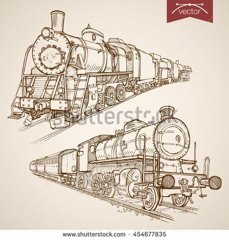 Engraving vintage hand drawn vector retro train collection. Pencil Sketch railway transport illustration.