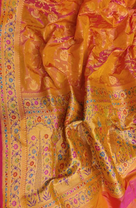Orange and Pink Shot Banarasi Tilfi Pure Katan Silk Kadwa Saree