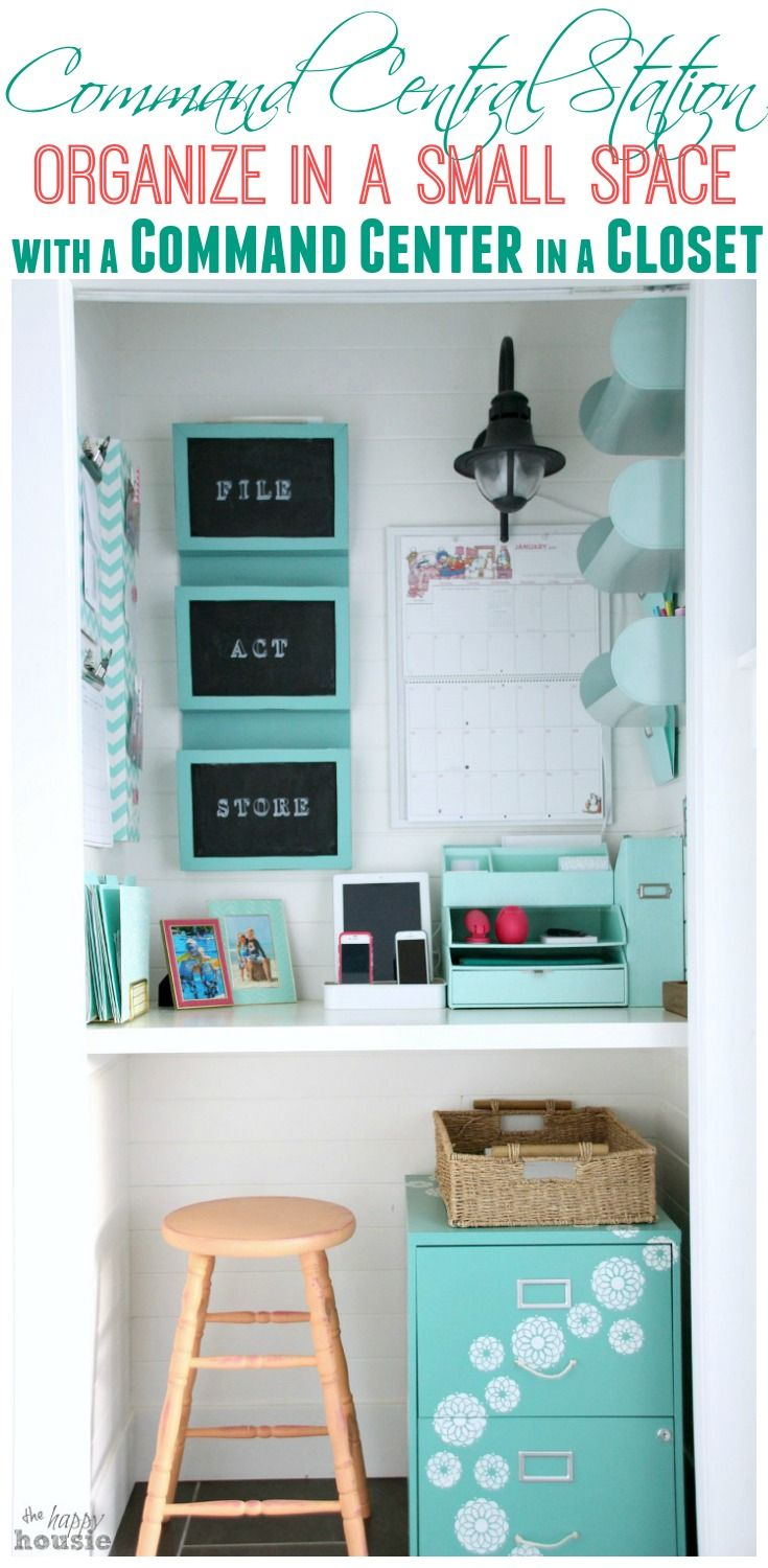 Command Central Station Get Organized in a Small Space with a Command Center in a Closet at The Happy Housie