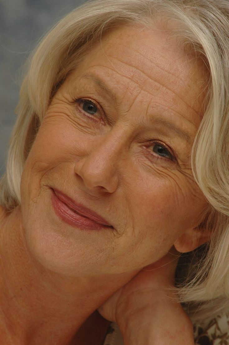 Helen Mirren. OMG she has lines on her face! YES she does, and she's beautiful! We age, get over it, embrace it. I was diagnosed with breast cancer at 39 and suddenly my future was questionable. And when I turned 50 I was so happy! Never complain about getting older.