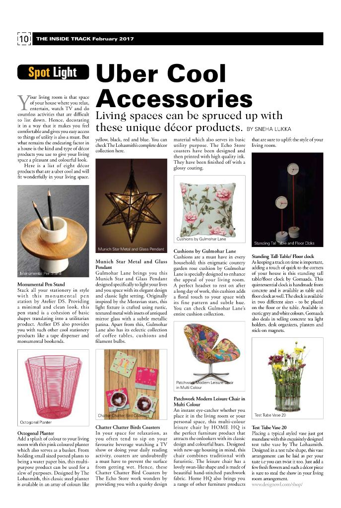 Unique decor accessories to spruce up your living spaces! Thank you The Inside Track for featuring our Munich Star Pendant and Vintage Rose Cushion in your February 2017 Edition. Product Link: http://www.gulmoharlane.com/products/munich-star-metal-and-glass-pendant  http://www.gulmoharlane.com/products/country-garden-rose