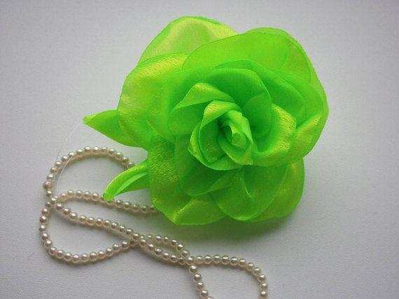 Small Hair Accessory, Neon Green Flower Hair Piece, Flower Hair Clip, Bridal Accessory, Wedding Accessory, Fabric Flower For Hair, Headpiece