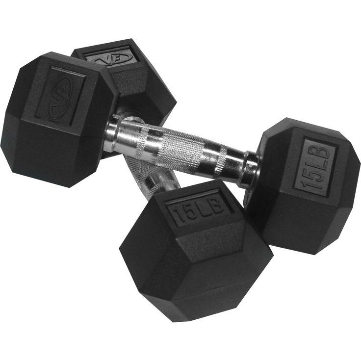 Valor Fitness 15 lb Rubber Hex Dumbbells