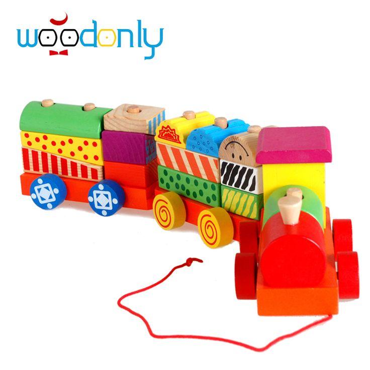 Игрушки для детей Деревянные Три Секции Блок Игрушечный Поезд Детские Дети Образования Деревянные Игрушки Подарок На День Рождения Детские Игрушки Детей