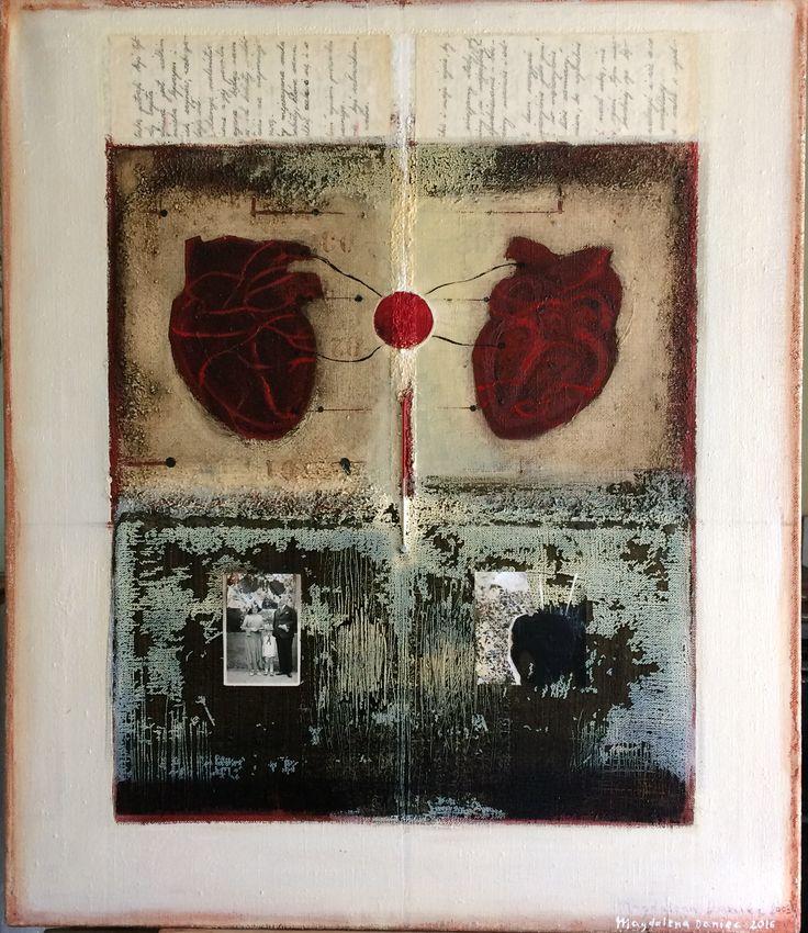 Temperatura uczuć/ Temperature of feelings, artist's own technique, collage, oil on canvas , 70x60 cm, 2005/2016. M. Daniec