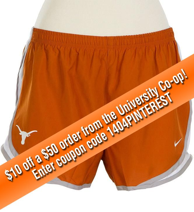 Nike Tempo Running Shorts! $10 off a $50 order from the University Co-op! Enter coupon code 1404PINTEREST  *Valid online at www.universitycoop.com through 5/11/14.  Some exclusions apply.