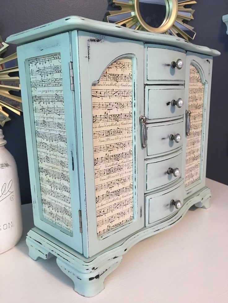 Mint shabby chic wooden jewelry box - music notes - refurbished jewelry box by CocoandQuinnVintage on Etsy https://www.etsy.com/listing/384707666/mint-shabby-chic-wooden-jewelry-box