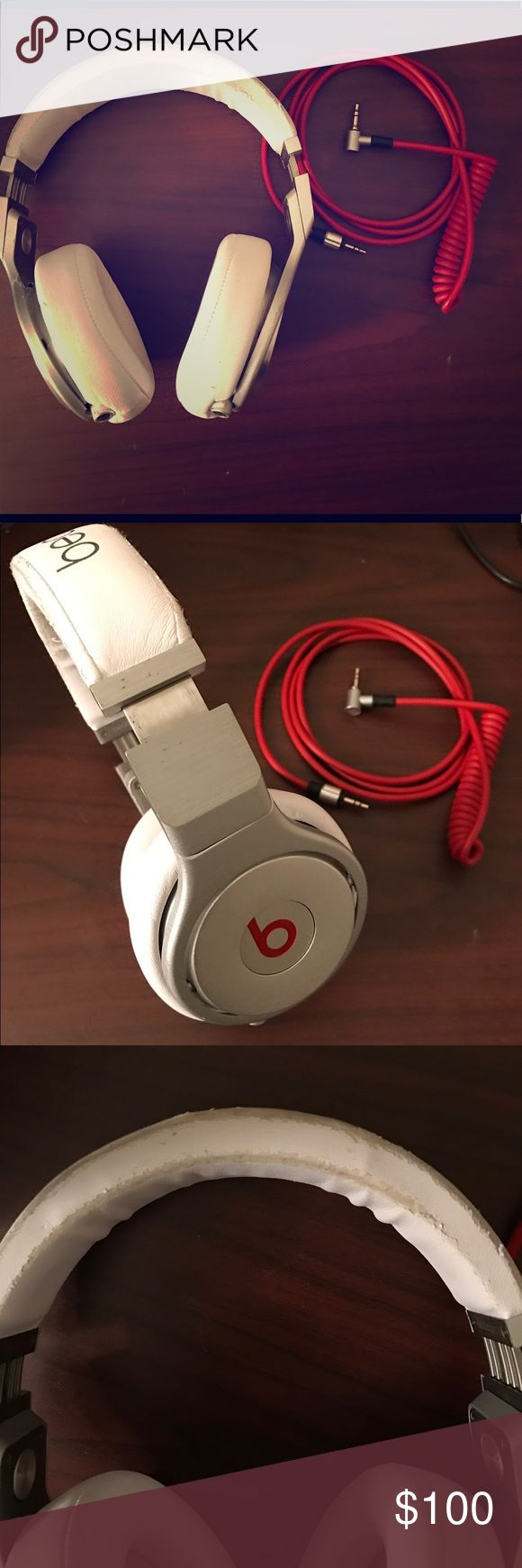 Beats Pro Wired Over-Ear Headphones White/Silver I am currently using the PowerBeats now and they work better with my new lifestyle of fitness! These headphones are truly wonderful, however they are becoming a hassle when going to the gym and other places! The two issues with these headphones are that, as you can see, the headband is starting to peel due to usage, and the metal of on the sides of the ear cups is slightly scratched. These headphones sound brand new still and work perfectly…