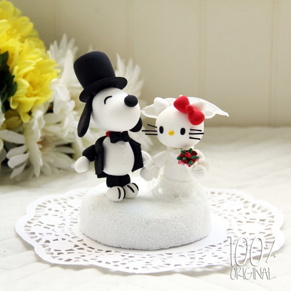 Custom Wedding Cake Topper Snoopy And Hello Kitty By 100original