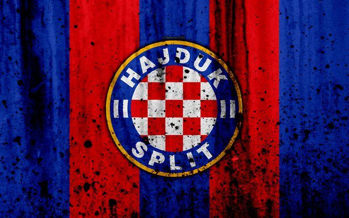 Download wallpapers 4k, FC Hajduk Split, grunge, HNL, art, soccer, football club, Croatia, HNK Hajduk Split, logo, stone texture, Hajduk Split FC