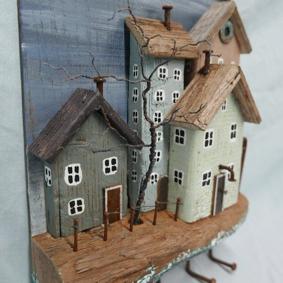 RUSTIC DRIFTWOOD COTTAGES Key Holder Jewelry Holder Seaside Ocean cottages houses #Y1