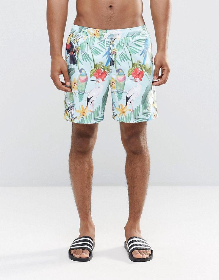 Image 1 of ASOS Mid Length Swim Shorts With Tropical Bird Print