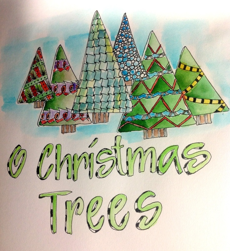 Love The Zentangles Used In Trees Sasifricious O Christmas