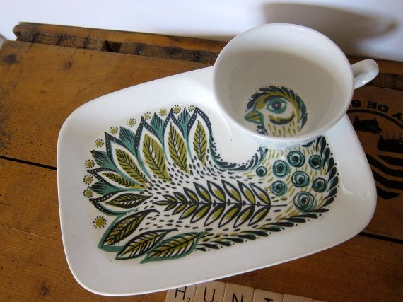 Figgjo Flint TV or snack plate with cup rare door HuntersKitchen, €64.00