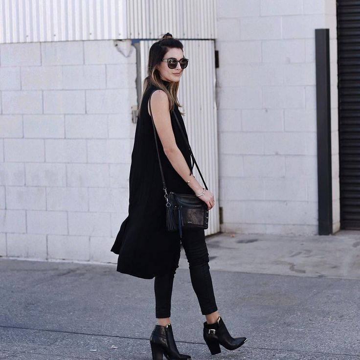 A Long Tank Top, Leggings, and Booties